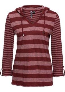 Полосатая футболка с длинным рукавом (красный каштан в полоску) Bonprix