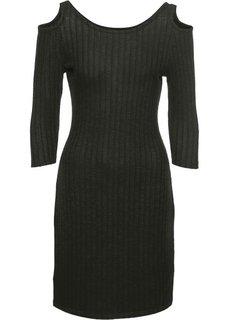 Платье вязаного дизайна (темно-оливковый меланж) Bonprix