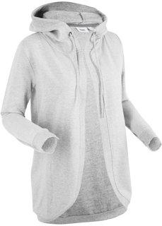 Трикотажная куртка с длинным рукавом и капюшоном (светло-серый меланж) Bonprix