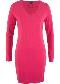 Трикотажное платье-стретч с длинным рукавом (ярко-розовый гибискус) Bonprix