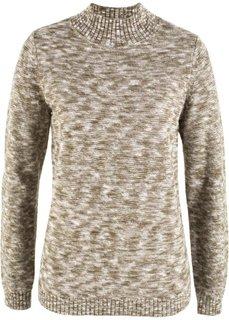 Пуловер с воротником-стойкой (кремовый/оливковый меланж) Bonprix