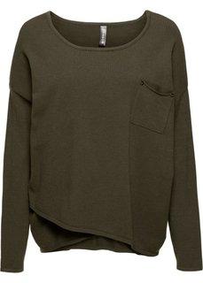 Пуловер с эффектом запаха (темно-оливковый) Bonprix