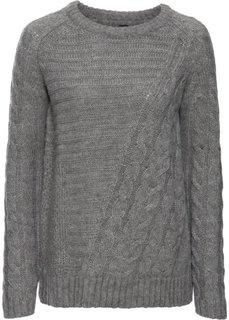 Вязаный пуловер (серый меланж) Bonprix