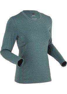 Спортивная футболка с длинным рукавом (зеленый эвкалипт/черный меланж) Bonprix