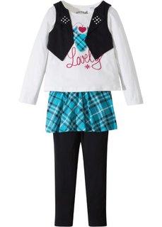 Комплект: футболка+юбка+леггинсы (3 изд.) (кремовый/бирюзовый/черный) Bonprix