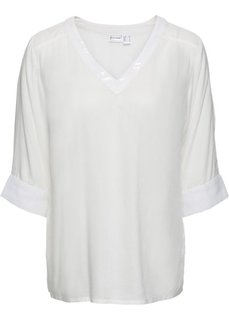 Блузка с пайетками (кремовый) Bonprix