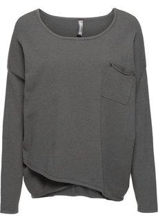 Пуловер с эффектом запаха (темно-серый) Bonprix