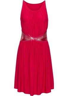 Трикотажное платье с аппликацией бусинками (красный) Bonprix