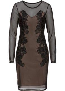 Платье в сеточку с кружевной отделкой (черный/телесный) Bonprix