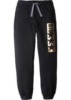 Трикотажные брюки со стильным принтом (темно-серый меланж) Bonprix