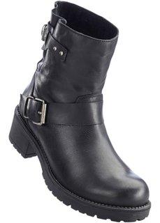 Кожаные полусапожки в байкерском стиле (черный) Bonprix
