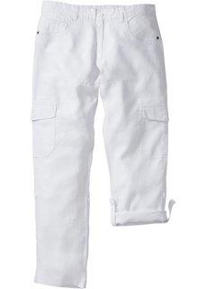 Льяные брюки-карго Regular Fit с хлястиками, низкий + высокий рост (U + S) (белый) Bonprix