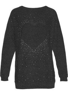 Удлиненный пуловер со стразами (антрацитовый меланж) Bonprix