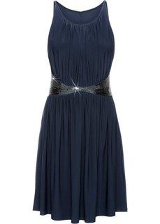 Трикотажное платье с аппликацией бусинками (темно-синий) Bonprix