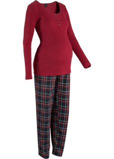 Пижама для будущих и кормящих мам (красный/в клетку) Bonprix