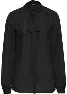 Блузка с бантом (черный) Bonprix