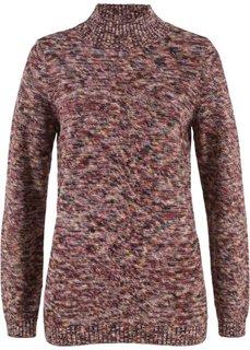 Пуловер с воротником-стойкой (красно-каштановый/желтый меланж) Bonprix
