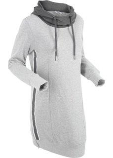 Трикотажное платье с длинным рукавом (светло-серый меланж) Bonprix