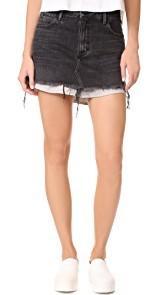 Denim x Alexander Wang High Rise Skirt with Shirttail Hem