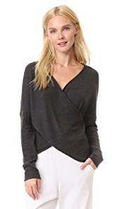 Three Dots Brushed Long Sleeve Cross Over Sweater