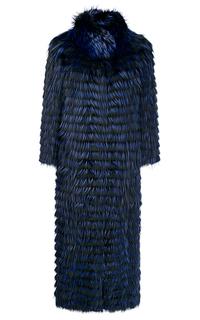 Длинная шуба из меха лисы на трикотаже Virtuale Fur Collection