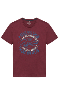 Бордовая футболка с принтом Tom Tailor