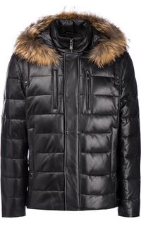 Зимняя кожаная куртка с отделкой мехом енота Jorg Weber