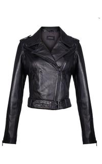Кожаная куртка с металлическими клепками La Reine Blanche