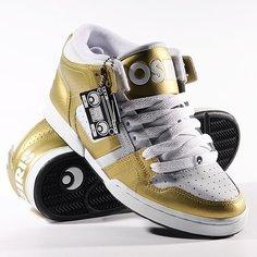 Кеды кроссовки высокие Osiris South Bronx Gold/White/Black
