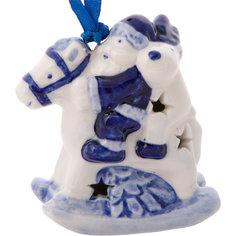Новогоднее подвесное елочное украшение Лошадка из керамики Magic Time