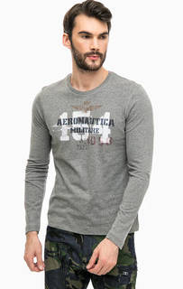 Серая хлопковая футболка с длинными рукавами Aeronautica Militare