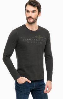 Темно-серая футболка с длинными рукавами Aeronautica Militare