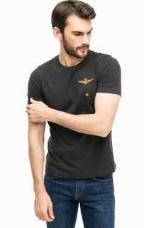 Серая хлопковая футболка с короткими рукавами Aeronautica Militare