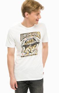 Белая хлопковая футболка с принтом Jack & Jones