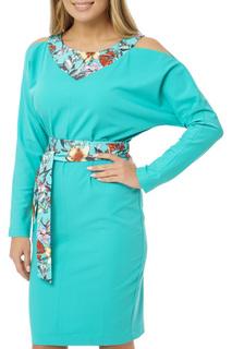 Платье с открытыми плечами и поясом Gloss