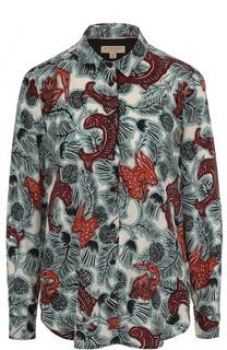 Шелковая блуза прямого кроя с принтом Burberry