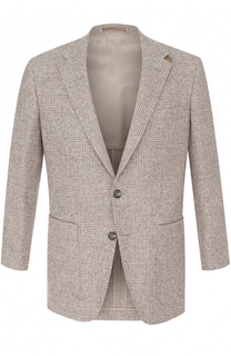 Однобортный шерстяной пиджак в клетку BOSS