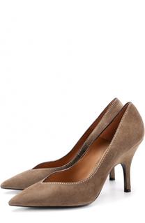 Замшевые туфли с контрастной прострочкой Giorgio Armani