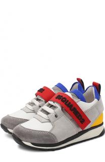 Комбинированные кроссовки на шнуровке с застежкой велькро Dsquared2