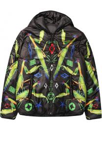 Утепленная куртка с капюшоном и принтом Marcelo Burlon Kids of Milan