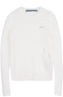 Пуловер фактурной вязки с круглым вырезом Raquel Allegra