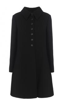 Расклешенные шерстяное пальто с отложным воротником Alaia