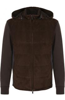 Утепленная куртка на молнии с замшевой вставкой Canali