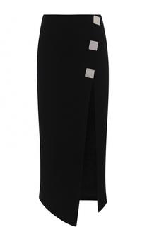 Однотонная юбка-миди с высоким разрезом David Koma