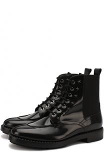 Высокие кожаные ботинки Troy на шнуровке с текстильными вставками Jimmy Choo