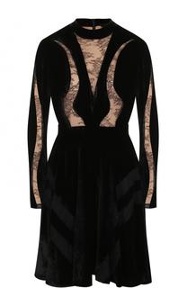 Бархатное платье с кружевными вставками Elie Saab