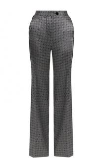 Шелковые расклешенные брюки с принтом Kiton