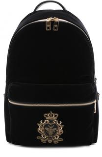 Текстильный рюкзак с кожаной отделкой и вышивкой канителью Dolce & Gabbana