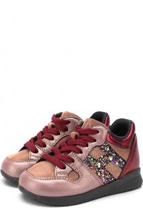 Комбинированные кроссовки на шнуровке с молнией Hogan