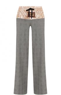 Шерстяные брюки в клетку с бархатной вставкой Stella Jean